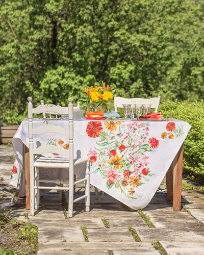 Zinnia Watercolor Dining Tablecloth