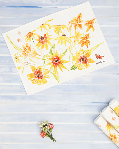 Black Eyed Susan Watercolor Placemats  Set of Four