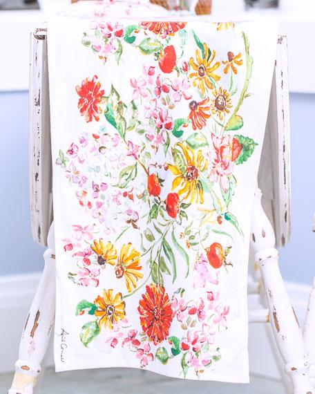 Zinnia Watercolor Table Runner