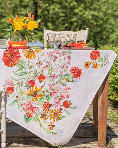 Zinnia Watercolor Breakfast Tablecloth