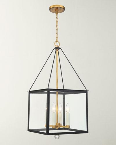 Weston 4-Light Black & Antique Gold Lantern