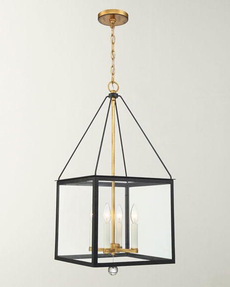 Crystorama Weston 4-Light Black & Antique Gold Lantern