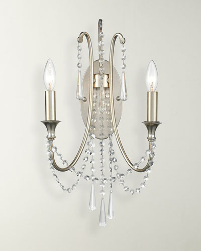 Arcadia 2-Light Antique Silver Wall Sconce