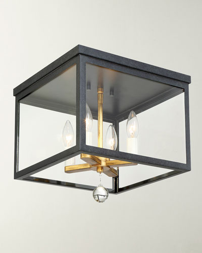 Weston 4-Light Black & Antique Gold Ceiling Mount Light