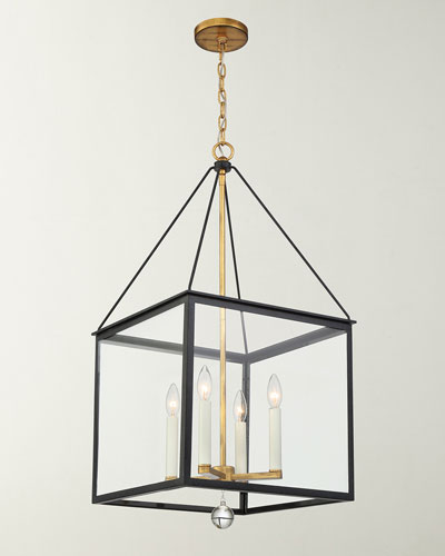 Weston 4-Light Black & Antique Gold Lantern