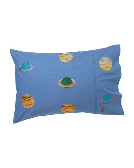 Kip&Co Kids' Spaced Out Embroidered Pillowcase - Standard,