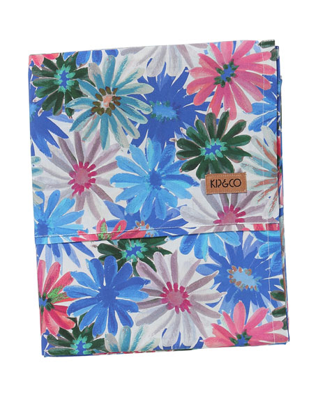 Kids' Petal Power Blue Cotton Flat Sheet -  Twin
