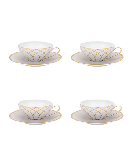 Terrace Tea Cups & Saucers, Set of 4