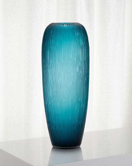 Carved Teal Glass Vase