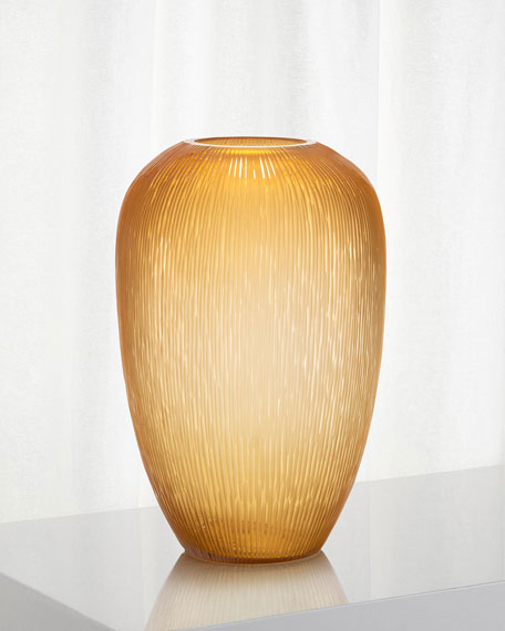 John-Richard Collection Carved Sunset Gold Glass Vase