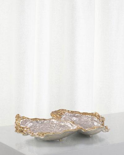 Double Oyster Gold Silver Enamel Decor