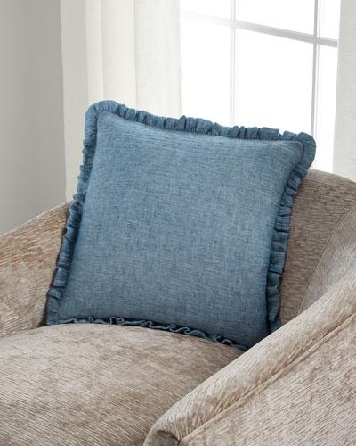 Isla Blue Ruffled Pillow  18Sq.