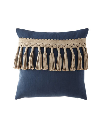 Tuscany Cleo Tassel-Trim Decorative Pillow  22Sq.
