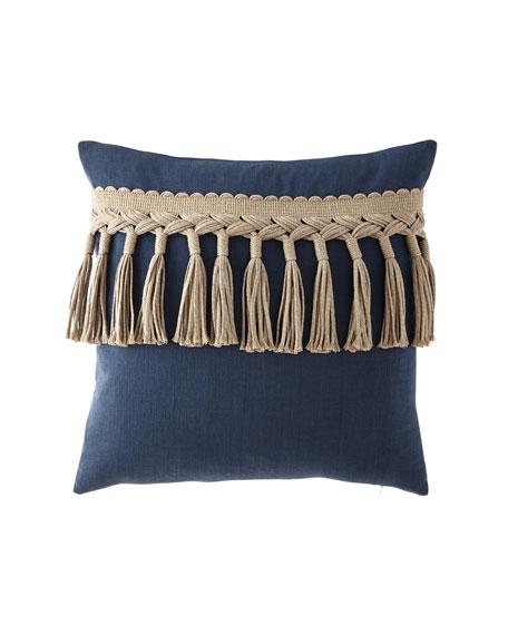 "Tuscany Cleo Tassel-Trim Decorative Pillow, 22""Sq."