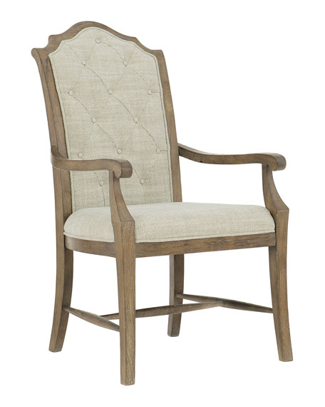 Rustic Patina Tufted Arm Chairs, Set of Two