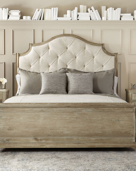 Rustic Patina Button Tufted Sleigh Bed - Queen