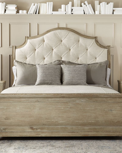 Rustic Patina Button Tufted Sleigh Bed - King