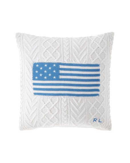 "RL Cable Knit Flag Pillow, 20""Sq."