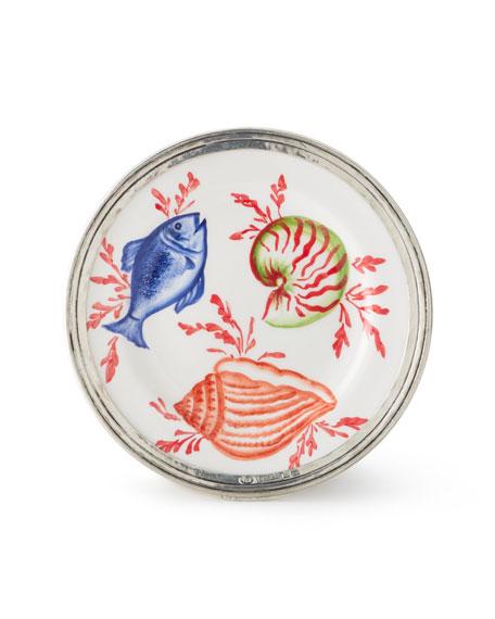 Neiman Marcus Ocean Pewter & Ceramic Dessert Plate