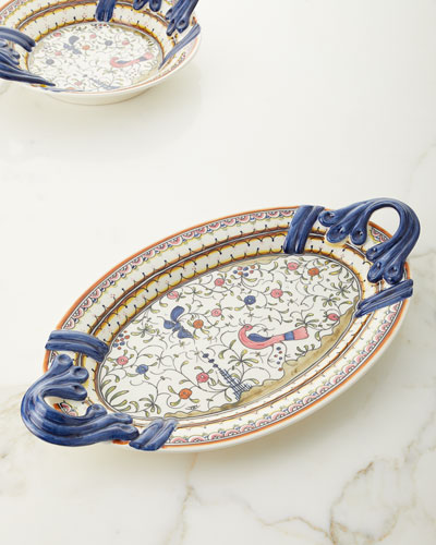Pavoes Handled Oval Platter