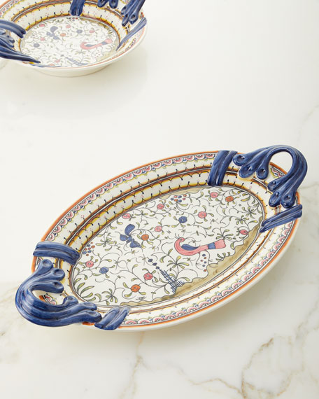 Neiman Marcus Pavoes Handled Oval Platter