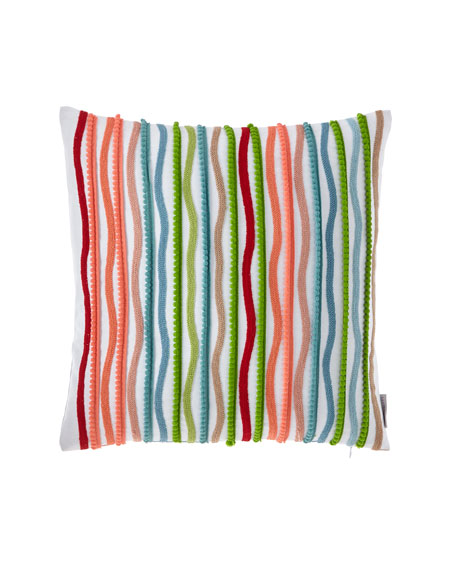 Multi Pompom Stripe Pillow