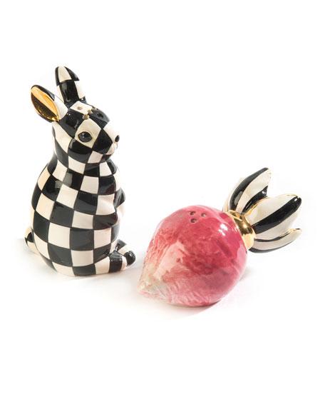 MacKenzie-Childs Radish Rabbit Salt and Pepper Shakers