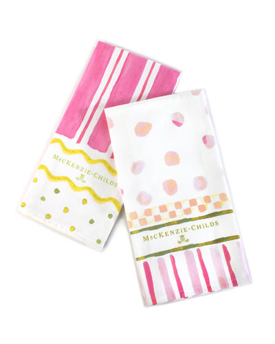 Easter Stripe and Dot Dish Towels  Set of 2