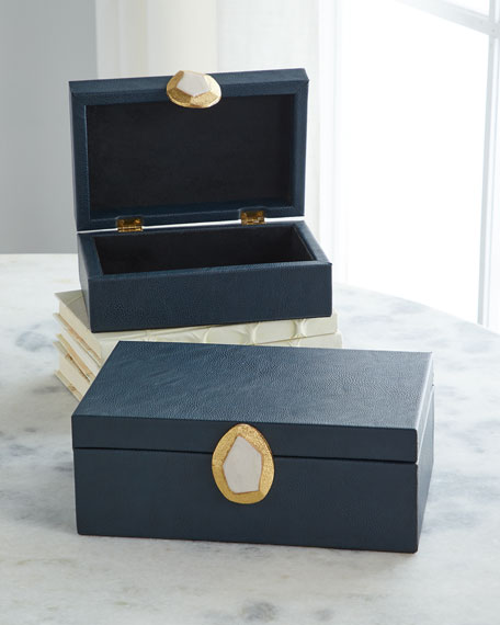 John-Richard Collection Onyx Pebble Grain Faux Leather Boxes,
