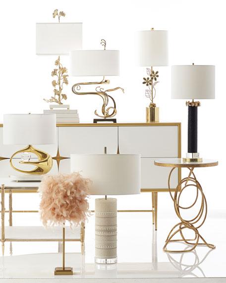 Stone Gold & Black Glass Lamp