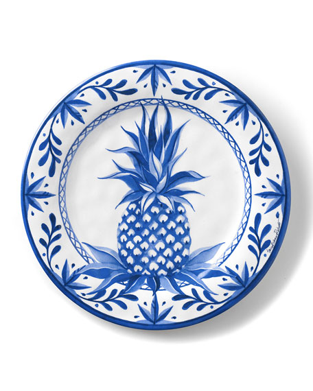 Blue Pineapple Shatter-Resistant Bamboo Salad Plates, Set of 4