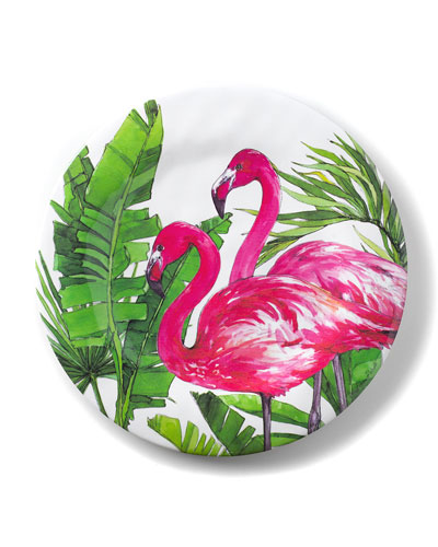 Flamingo Tropics Shatter-Resistant Bamboo Dinner Plates  Set of 4