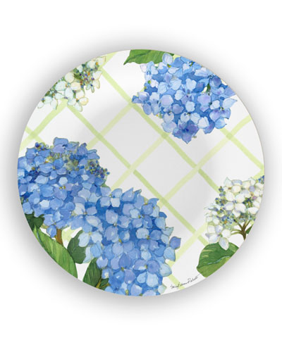 Hydrangea Lattice Shatter-Resistant Bamboo Dinner Plates  Set of 4