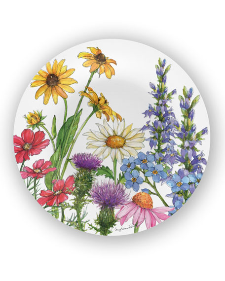 Bamboo Table Wildflowers Shatter-Resistant Bamboo Dinner Plates,