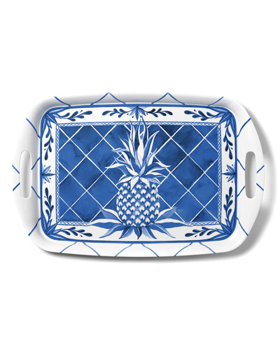 Blue Pineapple Shatter-Resistant Bamboo Serving Tray