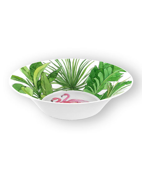 Flamingo Tropics Shatter-Resistant Bamboo Cereal Bowls, Set of 4