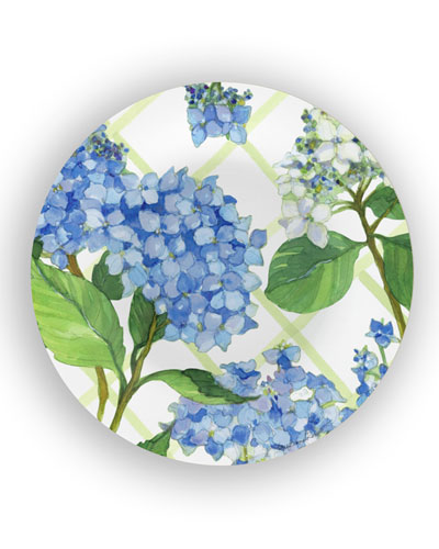 Hydrangea Lattice Shatter-Resistant Bamboo Salad Plates  Set of 4