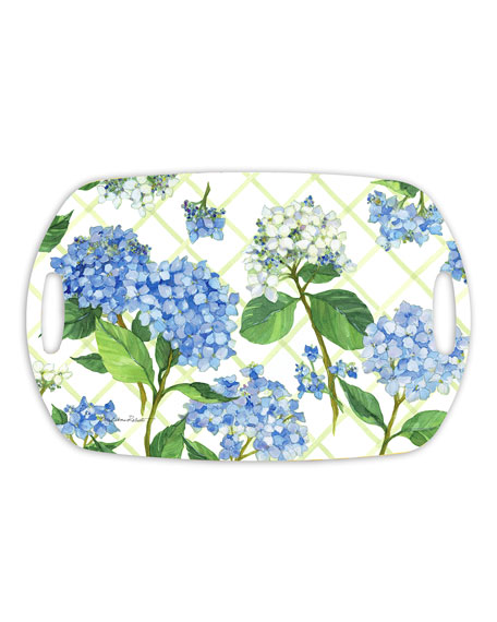 Hydrangea Lattice Shatter-Resistant Bamboo Serving Tray