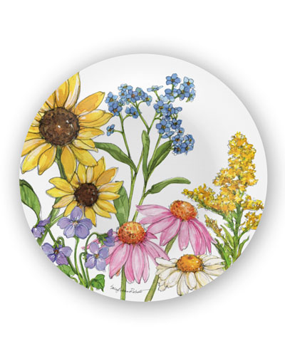 Wildflowers Shatter-Resistant Bamboo Salad Plates  Set of 4