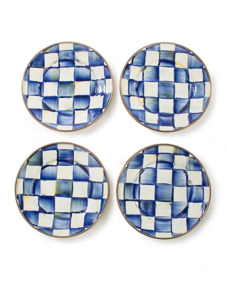 MacKenzie-Childs Royal Check Canape Plates, Set of 4