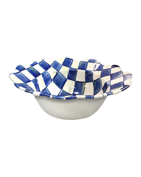 MacKenzie-Childs Royal Check Petal Serving Bowl