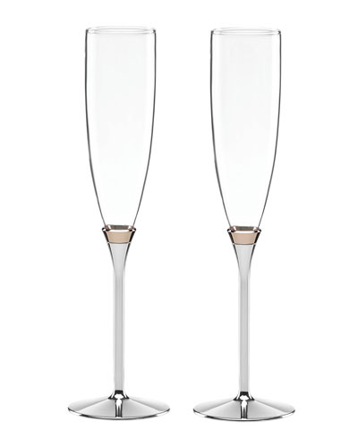 rosy glow toasting champagne flutes set