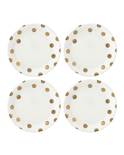 deco dot gold   dinner plates  set of four