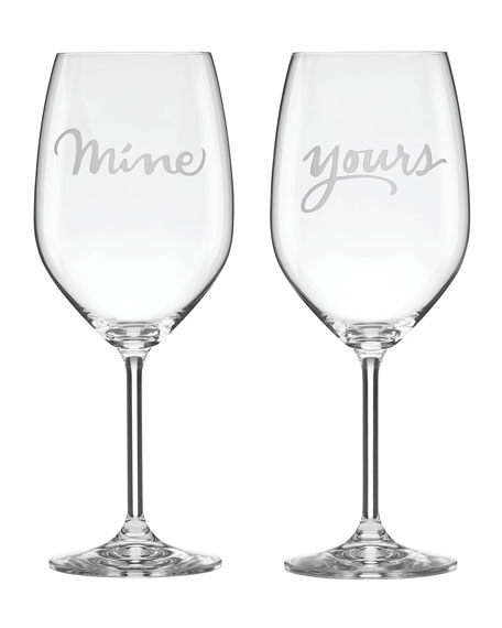 two of a kind mine & yours stemmed red wine glass