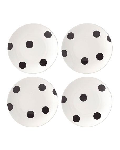 deco dot   tidbit plates, set of four