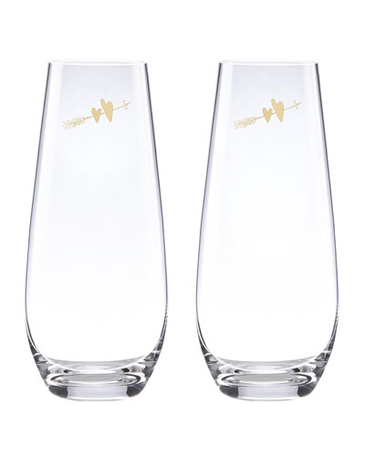 two hearts stemlesss champagne flutes