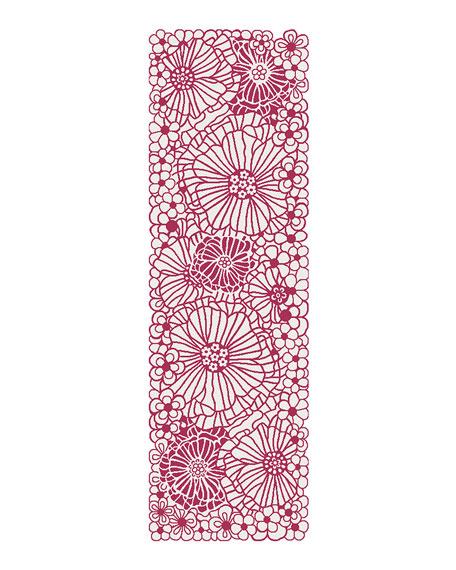Raspberries and Cream Floral Runner, 2.5' x 8'