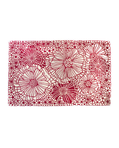 Raspberries and Cream Floral Rug  5' x 8'