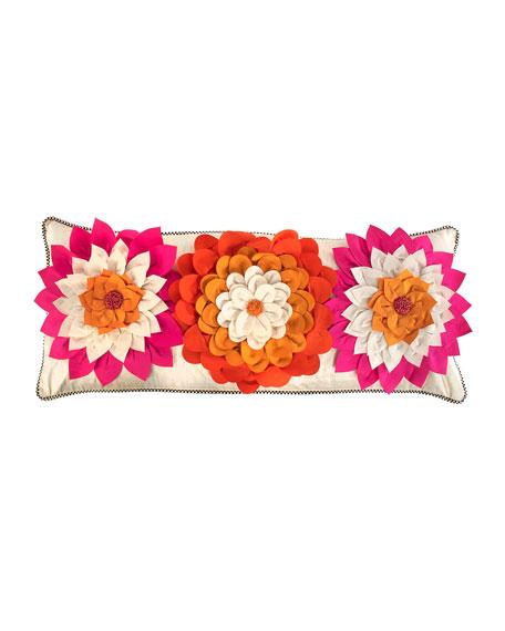 Super Pink Dahlia Lumbar Pillow