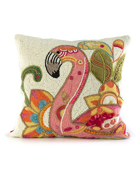 MacKenzie-Childs Groovy Flamingo Pillow